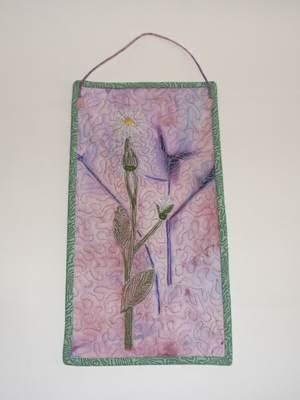 zweiseitiges Textilbild - Distel