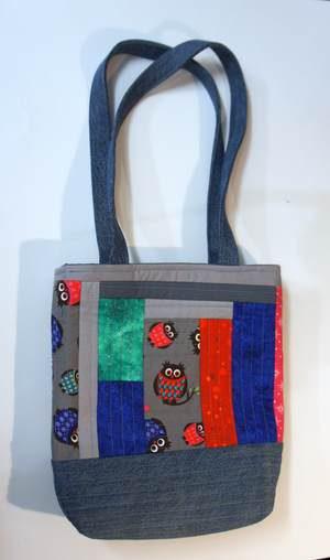 Patchwork Handtasche mit Eulenstoff