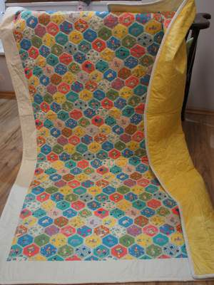 Retro-Quilt mit Hexagon-Muster